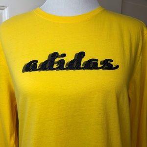 Adidas Yellow Long Sleeve Tee Blue Glitter Symbol